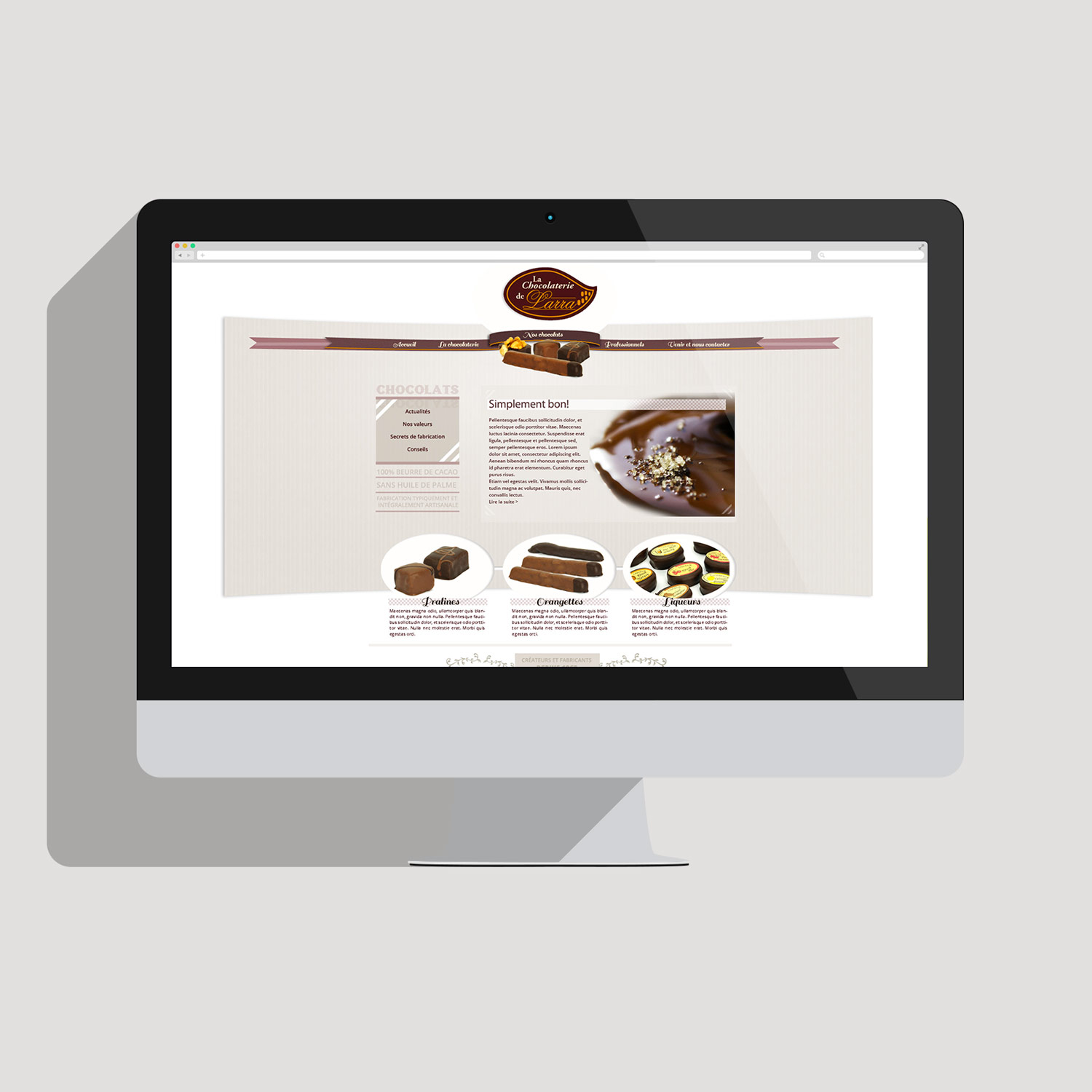 image du Wedesign site Internet chocolatier