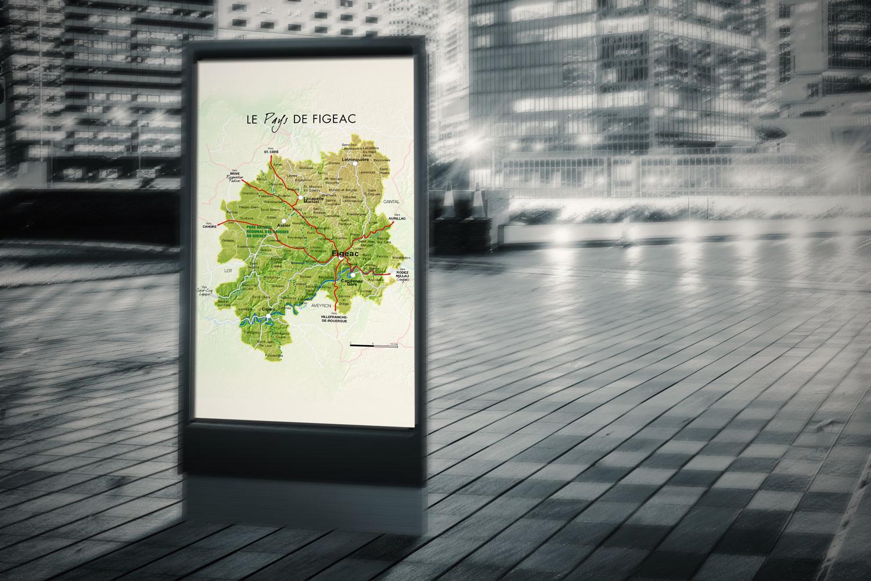 image de carte vectorielle du pays de Figeac